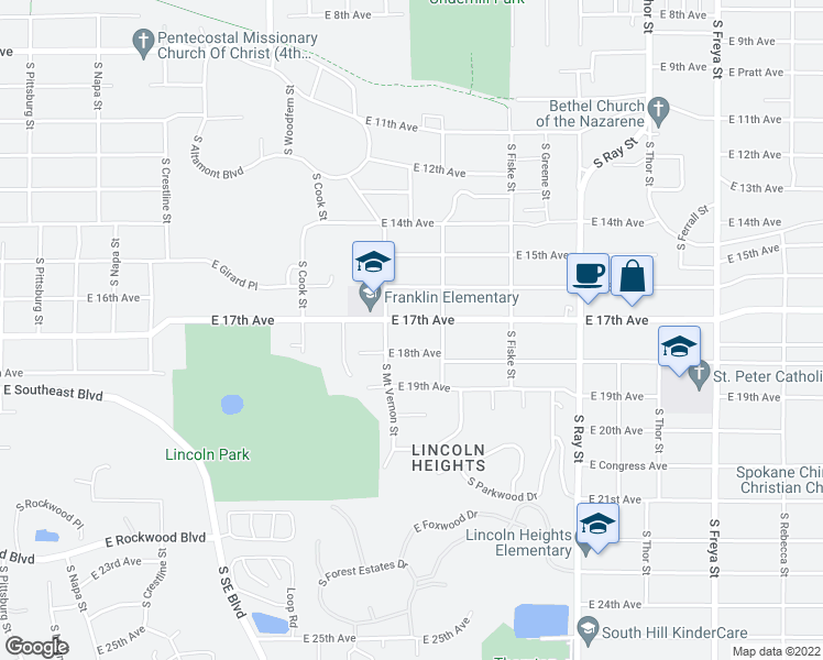 map of restaurants, bars, coffee shops, grocery stores, and more near 2810 East 17th Avenue in Spokane