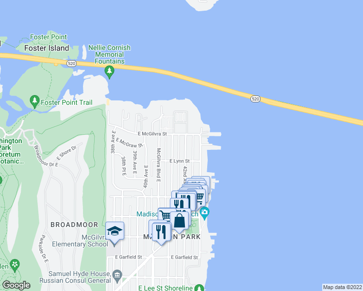 map of restaurants, bars, coffee shops, grocery stores, and more near 2329 42nd Avenue East in Seattle