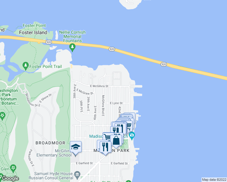 map of restaurants, bars, coffee shops, grocery stores, and more near 2338 41st Avenue East in Seattle