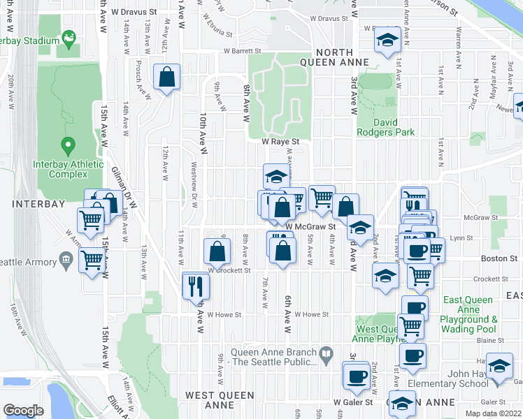 map of restaurants, bars, coffee shops, grocery stores, and more near 2425 7th Avenue West in Seattle
