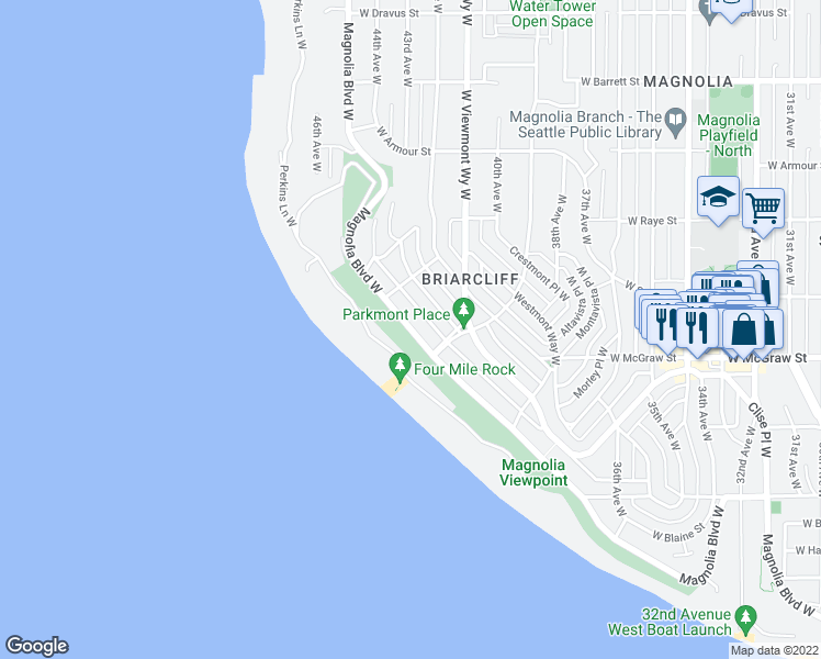 map of restaurants, bars, coffee shops, grocery stores, and more near 2445 Magnolia Boulevard West in Seattle