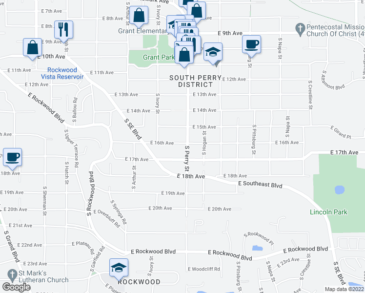 map of restaurants, bars, coffee shops, grocery stores, and more near 1324 East 16th Avenue in Spokane