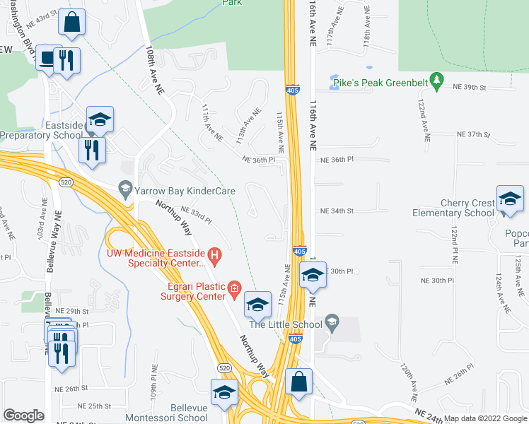 map of restaurants, bars, coffee shops, grocery stores, and more near 3205 115th Avenue Northeast in Bellevue