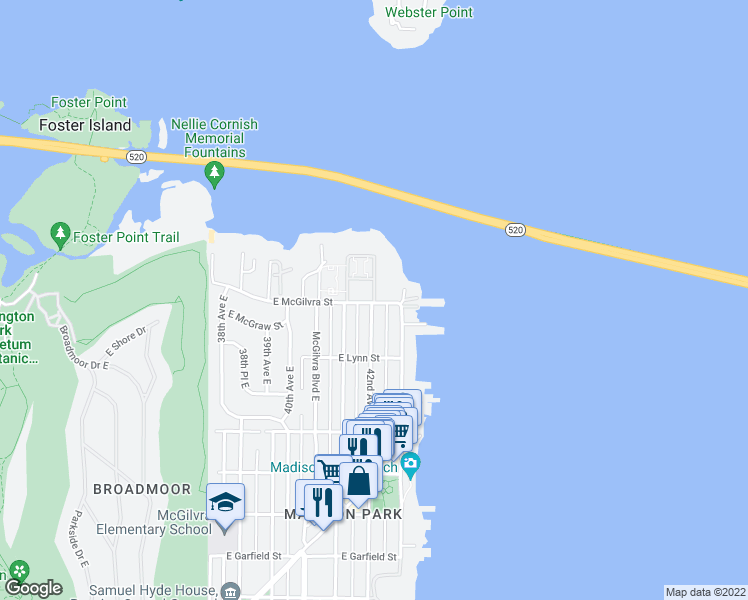 map of restaurants, bars, coffee shops, grocery stores, and more near 2499-2515 42nd Avenue East in Seattle