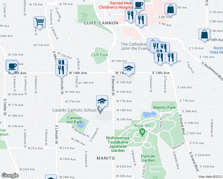 map of restaurants, bars, coffee shops, grocery stores, and more near 402 West 16th Avenue in Spokane