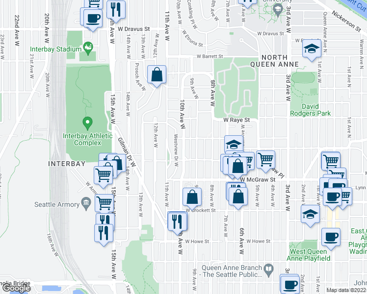 map of restaurants, bars, coffee shops, grocery stores, and more near 10th Avenue West in Seattle