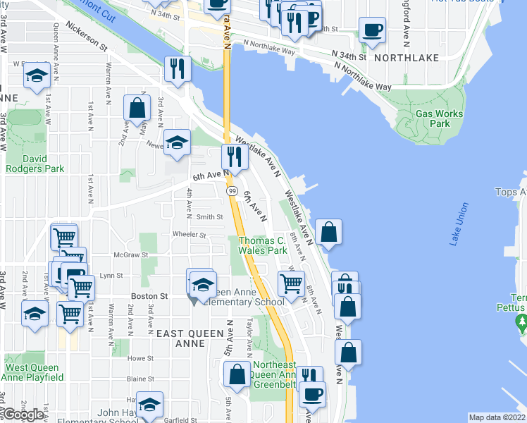 map of restaurants, bars, coffee shops, grocery stores, and more near 2468 6th Avenue North in Seattle