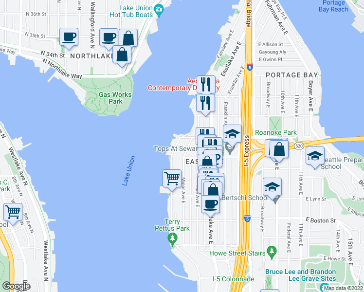 map of restaurants, bars, coffee shops, grocery stores, and more near 2525 Minor Avenue East in Seattle