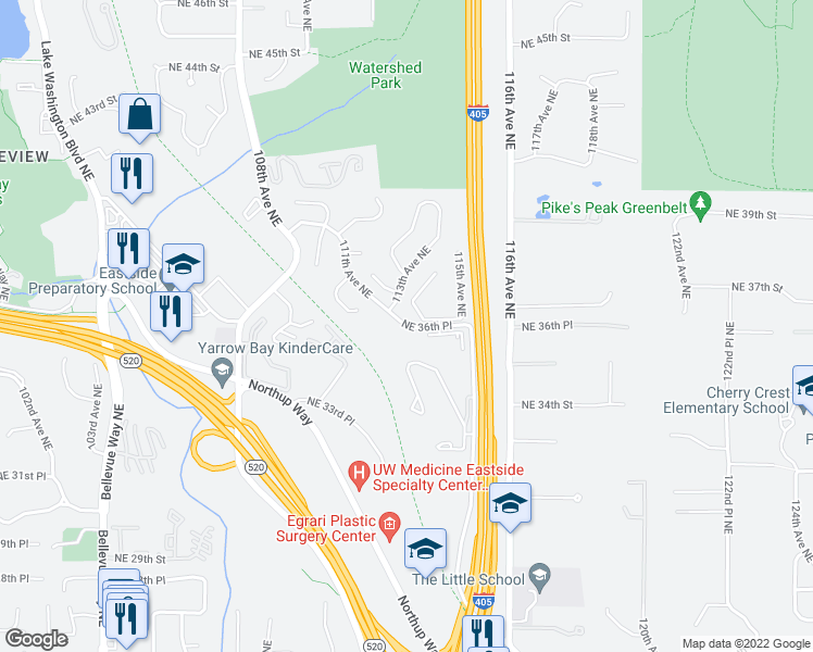 map of restaurants, bars, coffee shops, grocery stores, and more near 11394 Northeast 36th Place in Bellevue