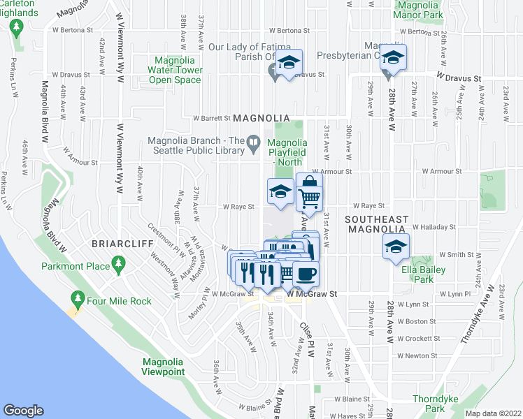 map of restaurants, bars, coffee shops, grocery stores, and more near 2578 34th Avenue West in Seattle
