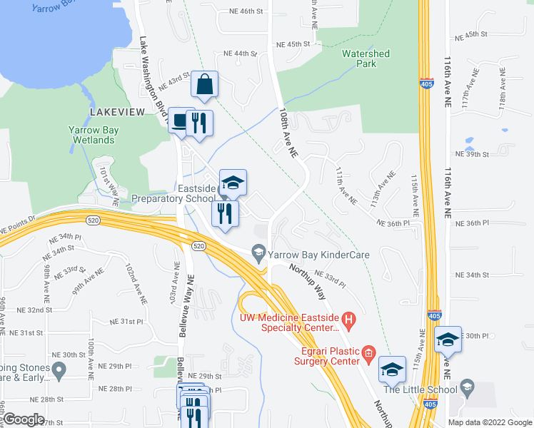 map of restaurants, bars, coffee shops, grocery stores, and more near 10715 Northeast 37th Court in Kirkland