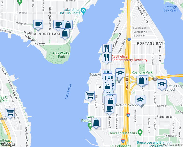 map of restaurants, bars, coffee shops, grocery stores, and more near 10 East Roanoke Street in Seattle