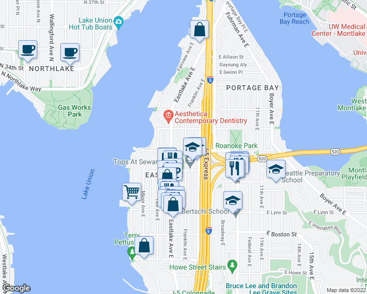 map of restaurants, bars, coffee shops, grocery stores, and more near 2605 Franklin Avenue East in Seattle