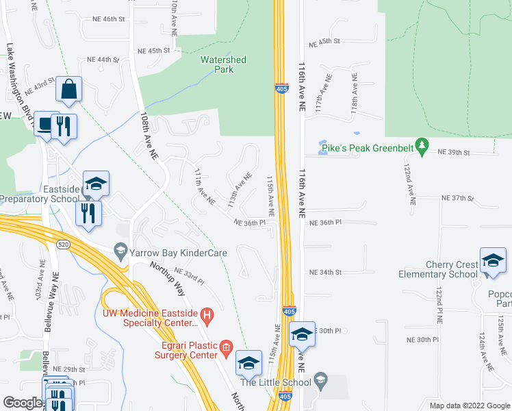 map of restaurants, bars, coffee shops, grocery stores, and more near 11330 Northeast 36th Place in Bellevue
