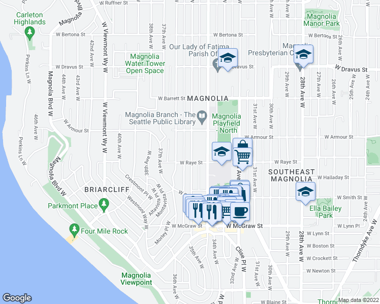 map of restaurants, bars, coffee shops, grocery stores, and more near 2646 36th Avenue West in Seattle