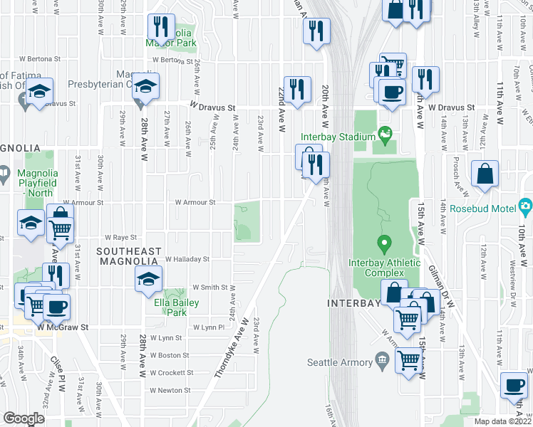 map of restaurants, bars, coffee shops, grocery stores, and more near 2640 23rd Avenue West in Seattle
