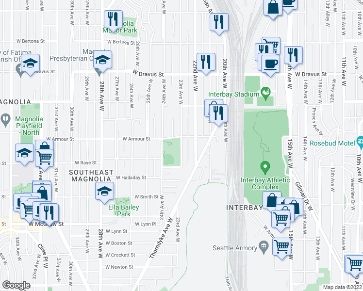 map of restaurants, bars, coffee shops, grocery stores, and more near 2642 23rd Avenue West in Seattle