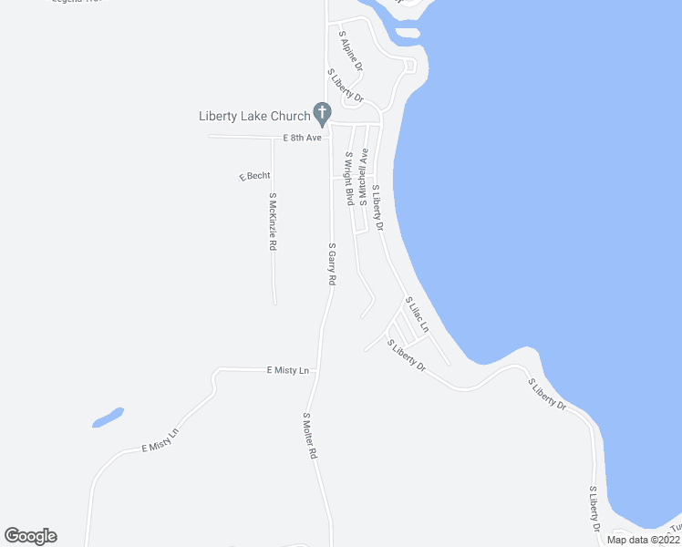 map of restaurants, bars, coffee shops, grocery stores, and more near South Garry Road in Liberty Lake