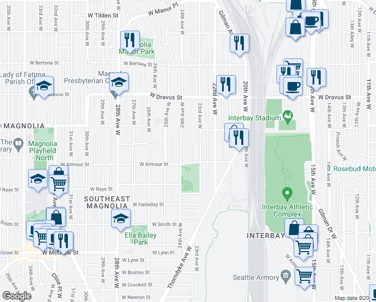 map of restaurants, bars, coffee shops, grocery stores, and more near 2823 Patten Place West in Seattle
