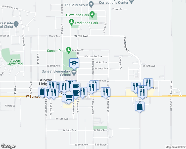 map of restaurants, bars, coffee shops, grocery stores, and more near 1011 South Campbell Street in Airway Heights