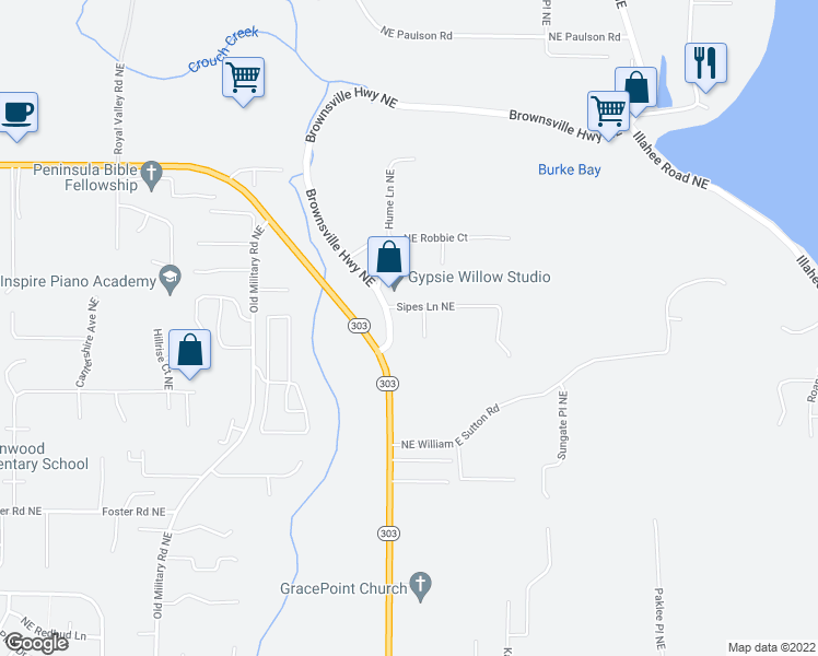 map of restaurants, bars, coffee shops, grocery stores, and more near 1695 Sipes Lane Northeast in Bremerton