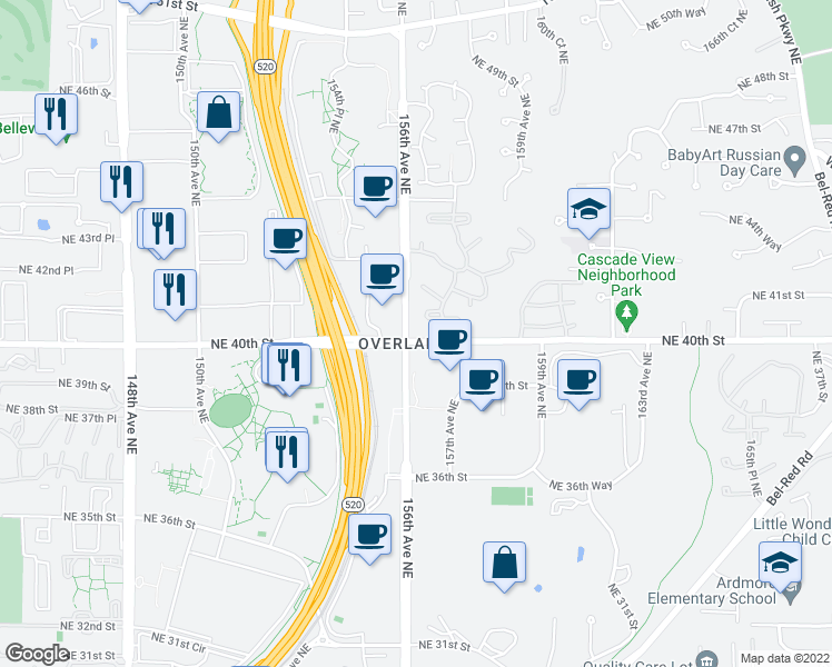 map of restaurants, bars, coffee shops, grocery stores, and more near 15607-15627 Northeast 40th Street in Redmond