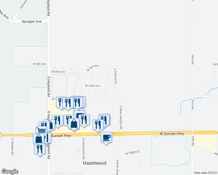 map of restaurants, bars, coffee shops, grocery stores, and more near 10107 West 10th Avenue in Spokane