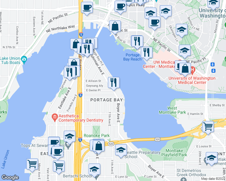 map of restaurants, bars, coffee shops, grocery stores, and more near Fuhrman Avenue East & East Gwinn Place in Seattle