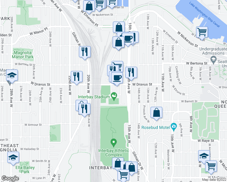 map of restaurants, bars, coffee shops, grocery stores, and more near 3027 17th Avenue West in Seattle
