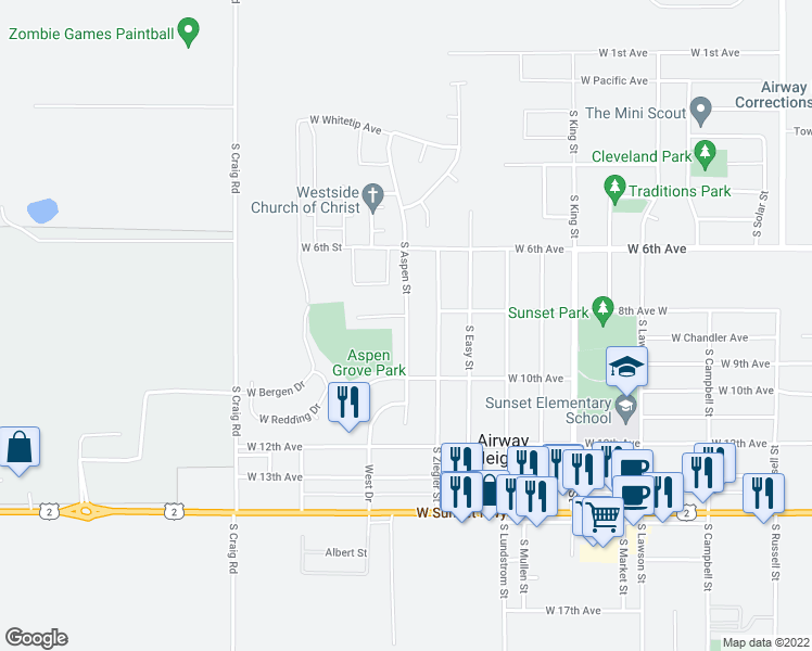 map of restaurants, bars, coffee shops, grocery stores, and more near 825 South Aspen Street in Airway Heights