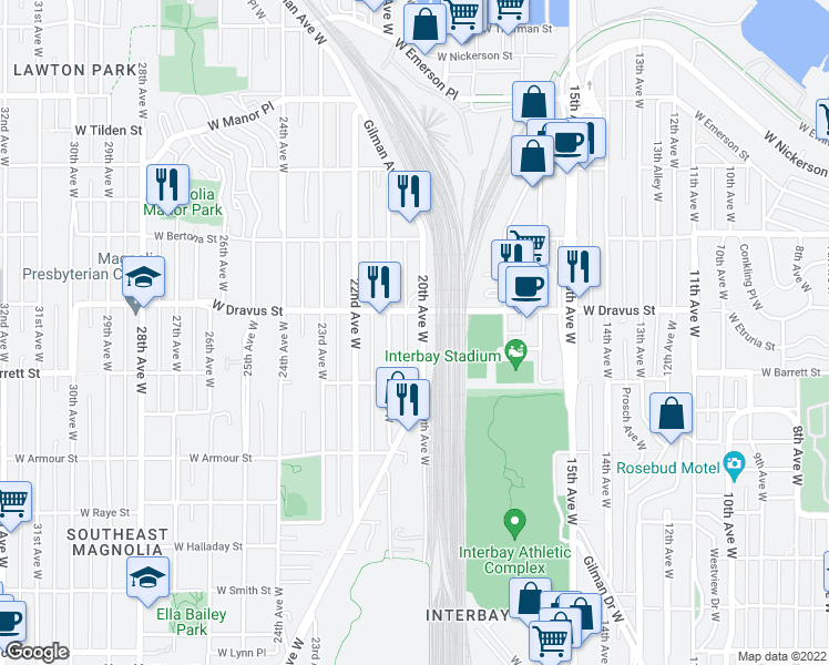 map of restaurants, bars, coffee shops, grocery stores, and more near 3045 20th Avenue West in Seattle