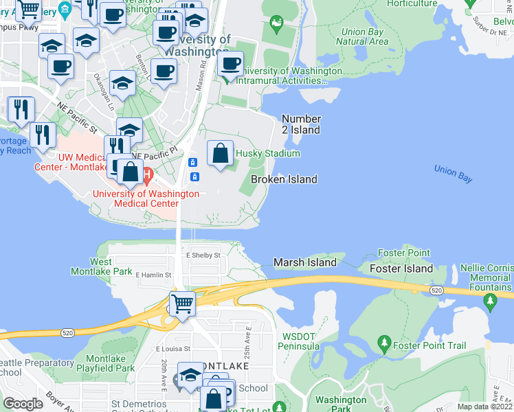 map of restaurants, bars, coffee shops, grocery stores, and more near 3900 Montlake Boulevard Northeast in Seattle