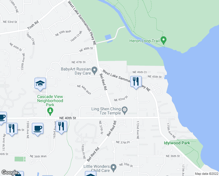 map of restaurants, bars, coffee shops, grocery stores, and more near 4244 Bel-Red Road in Redmond