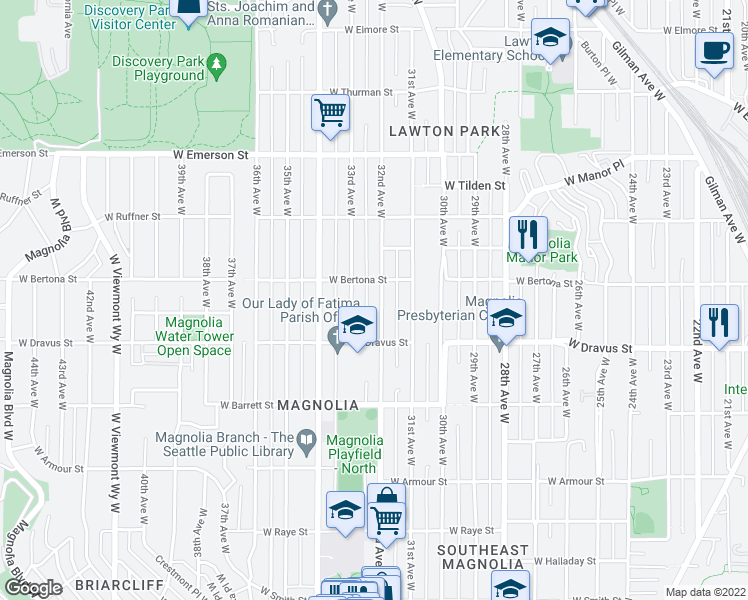 map of restaurants, bars, coffee shops, grocery stores, and more near 3241 32nd Avenue West in Seattle