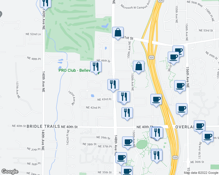 map of restaurants, bars, coffee shops, grocery stores, and more near 4426 147th Place Northeast in Bellevue
