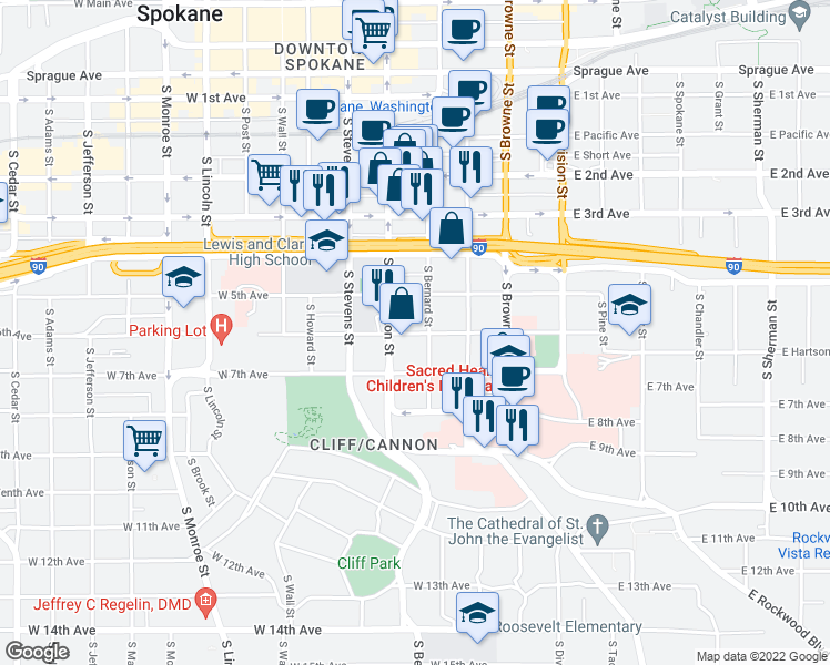 map of restaurants, bars, coffee shops, grocery stores, and more near 300-326 West 6th Avenue in Spokane