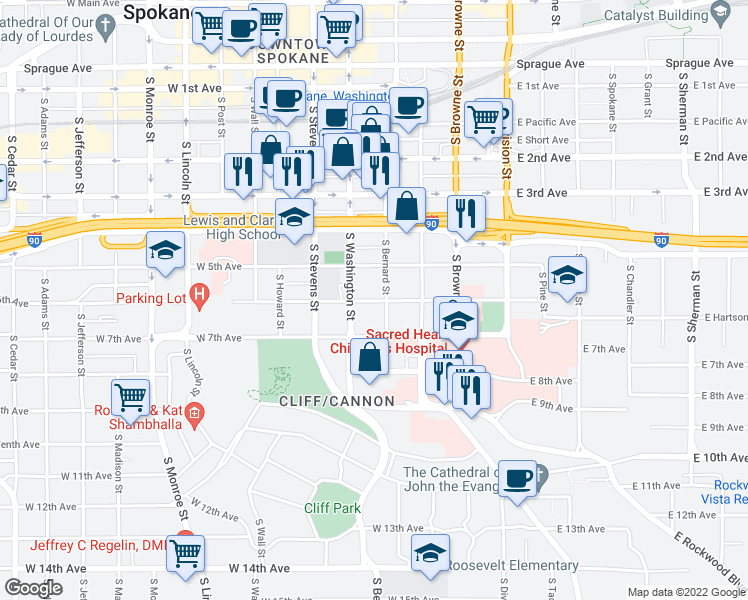 map of restaurants, bars, coffee shops, grocery stores, and more near 326 West 6th Avenue in Spokane