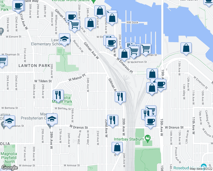 map of restaurants, bars, coffee shops, grocery stores, and more near 3457 22nd Avenue West in Seattle