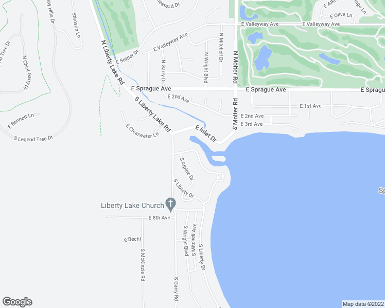 map of restaurants, bars, coffee shops, grocery stores, and more near 321 South Shoreline Drive in Liberty Lake