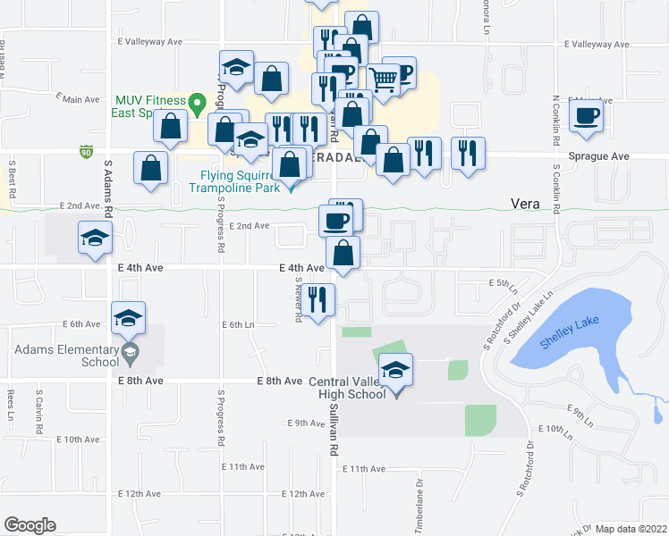 map of restaurants, bars, coffee shops, grocery stores, and more near E 4th Ave & S Sullivan Rd in Spokane