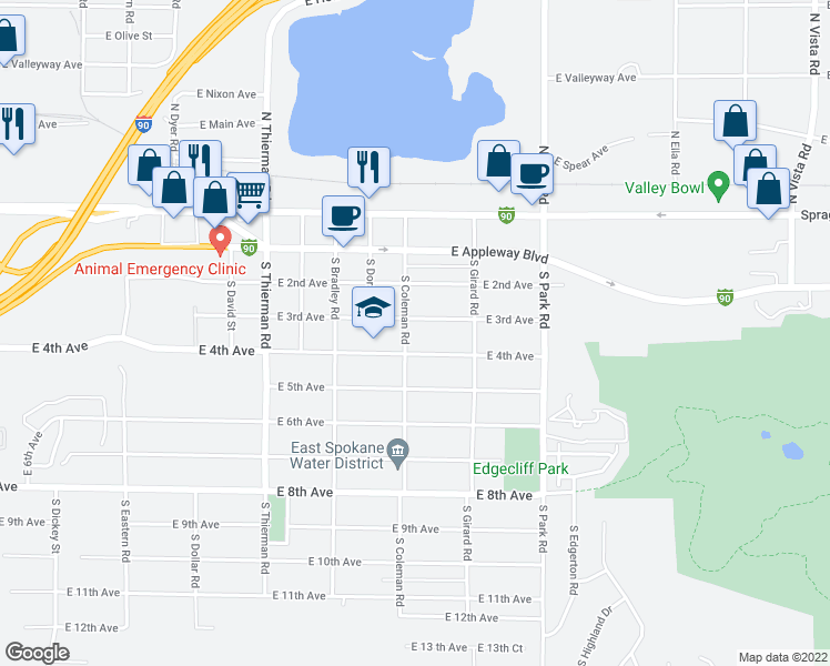 map of restaurants, bars, coffee shops, grocery stores, and more near 7108 East 3rd Avenue in Spokane Valley