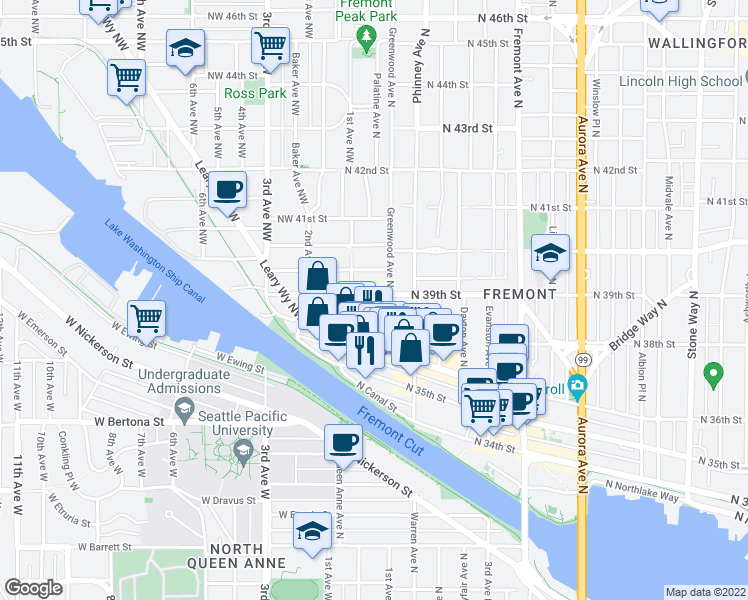 map of restaurants, bars, coffee shops, grocery stores, and more near 209 North 39th Street in Seattle
