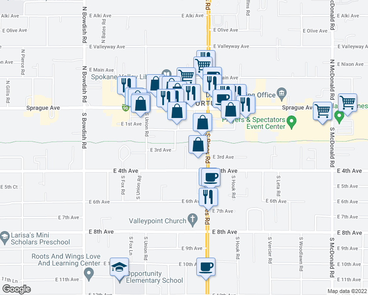 map of restaurants, bars, coffee shops, grocery stores, and more near Appleway Trail in Spokane Valley