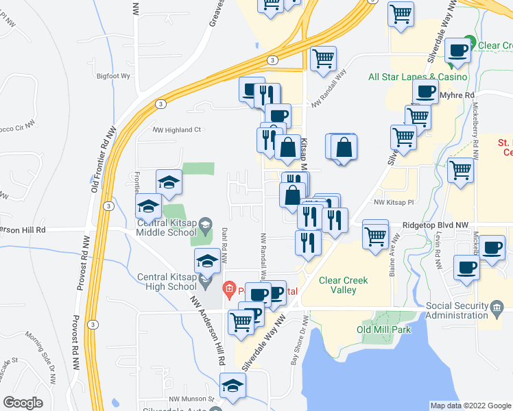 map of restaurants, bars, coffee shops, grocery stores, and more near 3414 Northwest Kensington Lane in Silverdale