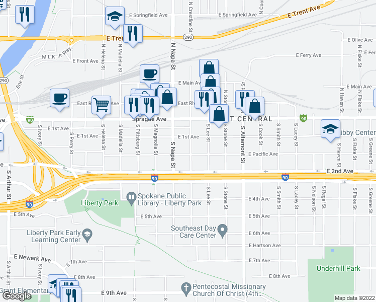 map of restaurants, bars, coffee shops, grocery stores, and more near 2029 East Pacific Avenue in Spokane