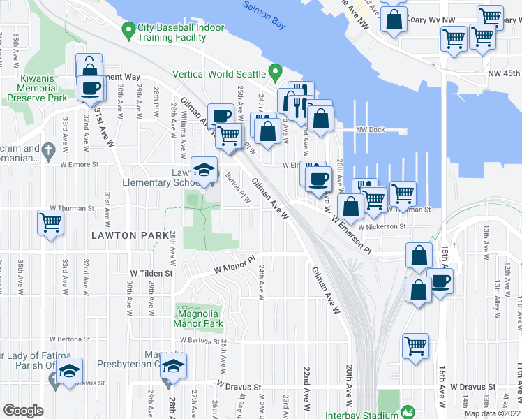 map of restaurants, bars, coffee shops, grocery stores, and more near 24th Avenue West & West Thurman Street in Seattle