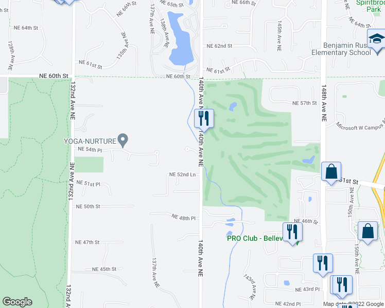 map of restaurants, bars, coffee shops, grocery stores, and more near 5327 140th Avenue Northeast in Bellevue