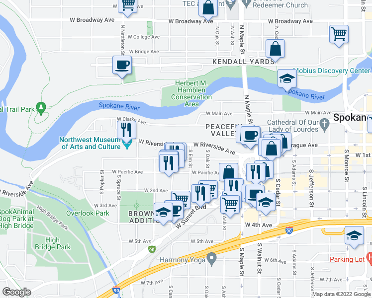 map of restaurants, bars, coffee shops, grocery stores, and more near 1907 West Riverside Avenue in Spokane