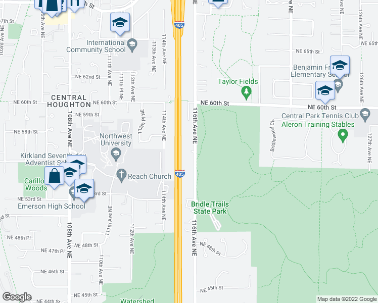 map of restaurants, bars, coffee shops, grocery stores, and more near 5555 116th Avenue Northeast in Kirkland