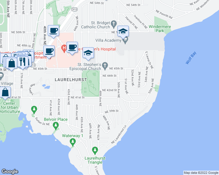 map of restaurants, bars, coffee shops, grocery stores, and more near 4830 Northeast 42nd Street in Seattle
